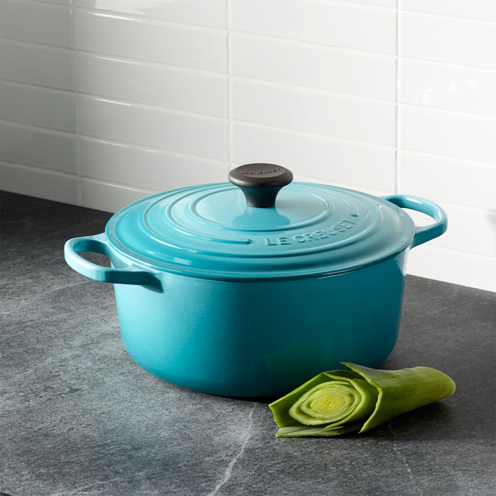 Le Creuset ® Signature 5.5-qt. Round Caribbean French Oven with Lid - Crate and Barrel