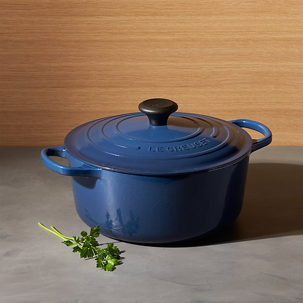 Le Creuset Signature 5 Qt Round Ink With Lid Reviews Crate And Barrel