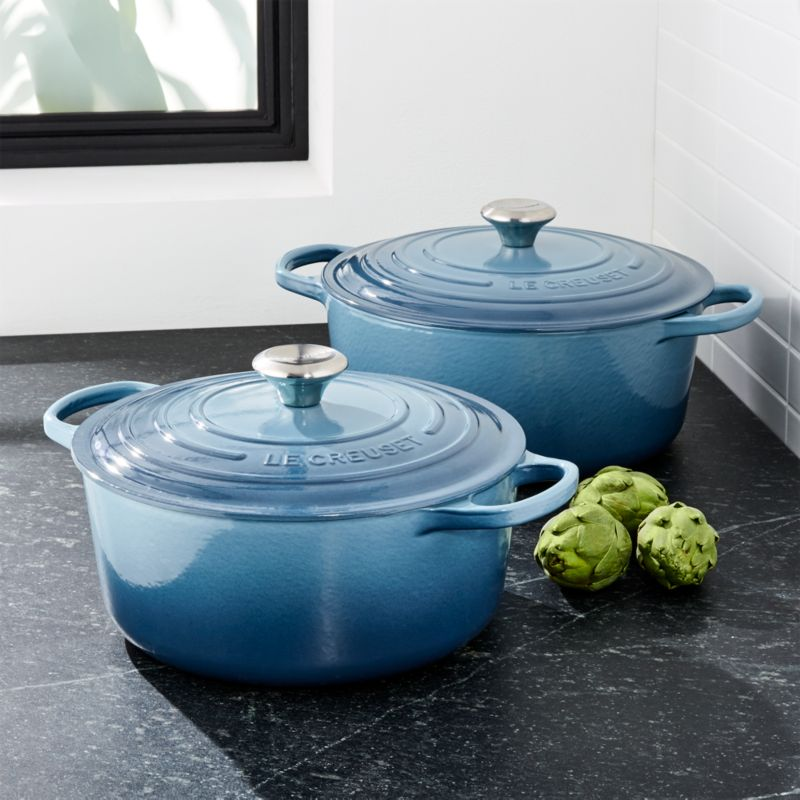 le creuset signature marine blue round dutch oven crate and barrel. Black Bedroom Furniture Sets. Home Design Ideas