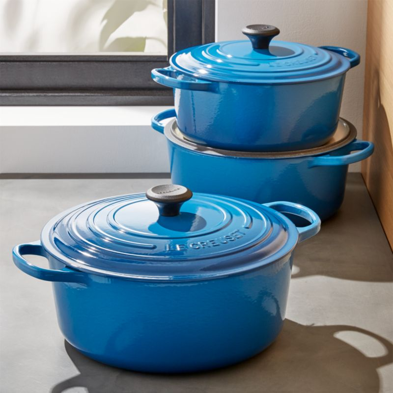 Le Creuset Signature Round Marseille Blue Dutch Ovens With