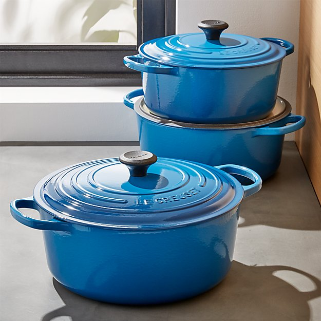 Le Creuset Signature Round Mille Blue S With Lid Crate And Barrel