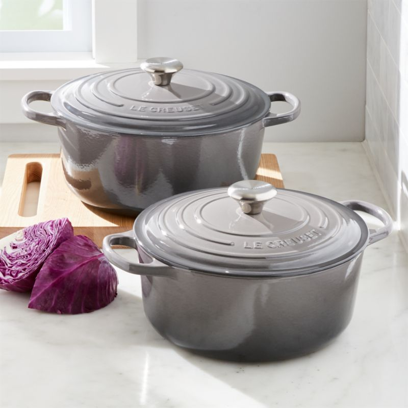 le creuset signature oyster round dutch ovens crate and barrel. Black Bedroom Furniture Sets. Home Design Ideas