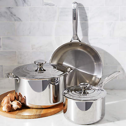 Le Creuset Signature Stainless Steel 5 Piece Cookware Set Reviews Crate And Barrel