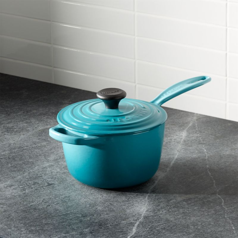le creuset signature caribbean saucepan with lid reviews crate and barrel. Black Bedroom Furniture Sets. Home Design Ideas
