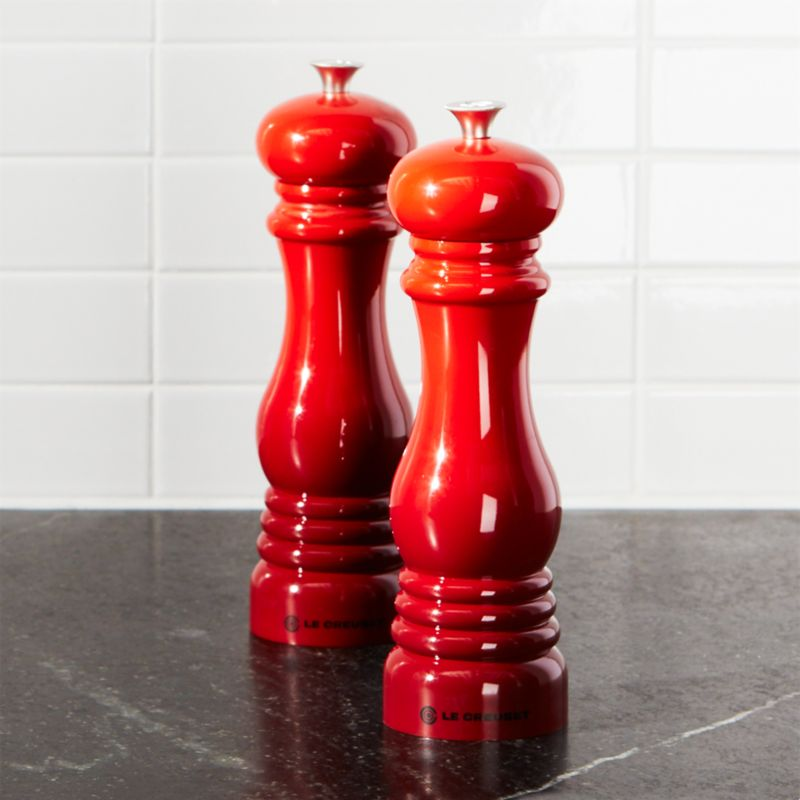 Le Creuset Cerise Red Salt And Pepper Mills Crate And Barrel