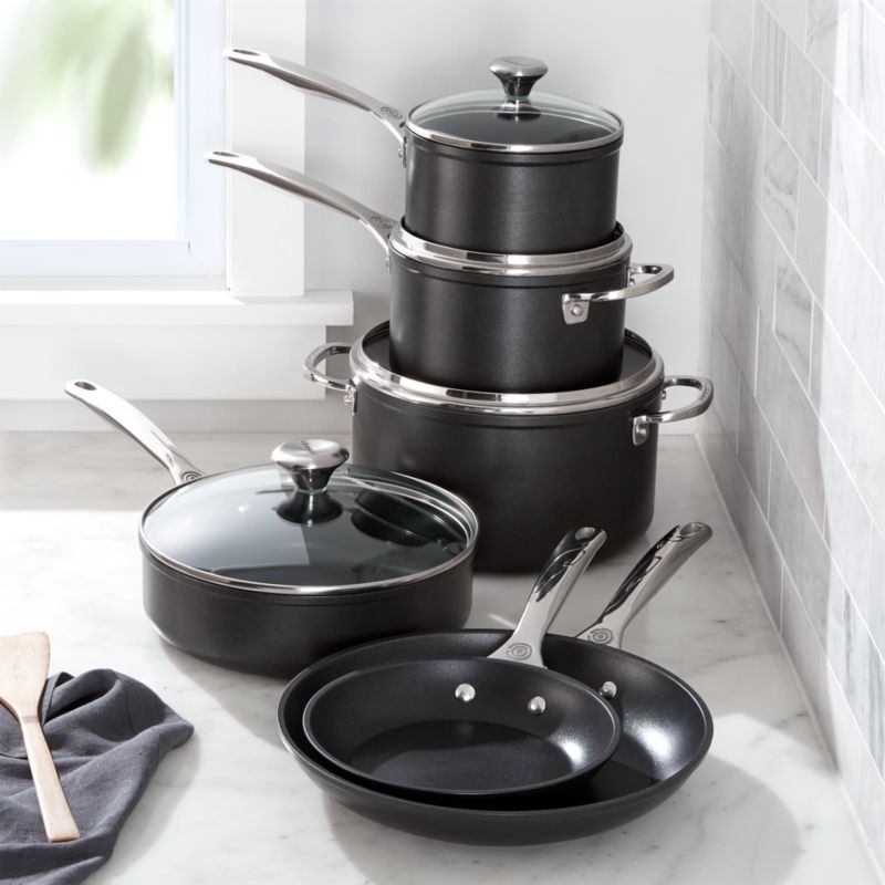 Le Creuset 10 Piece Toughened Nonstick Cookware Set Reviews Crate And Barrel