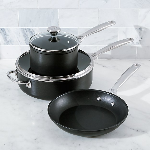 Le Creuset 5 Piece Toughened Nonstick Cookware Set Reviews Crate And Barrel