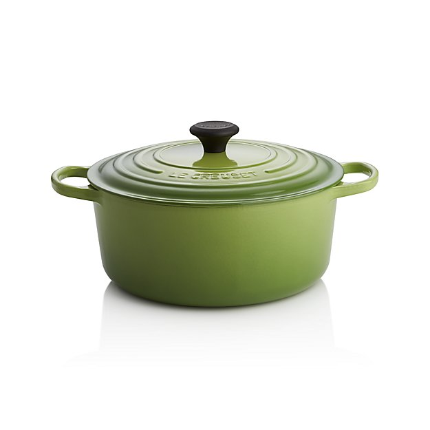 le creuset signature round palm dutch oven with lid crate and barrel. Black Bedroom Furniture Sets. Home Design Ideas