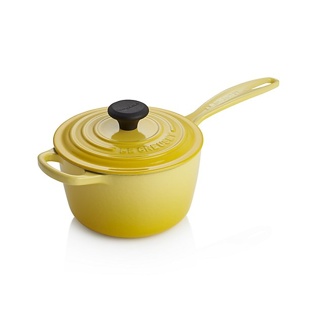 le creuset signature soleil saucepan with lid in individual cookware reviews crate. Black Bedroom Furniture Sets. Home Design Ideas