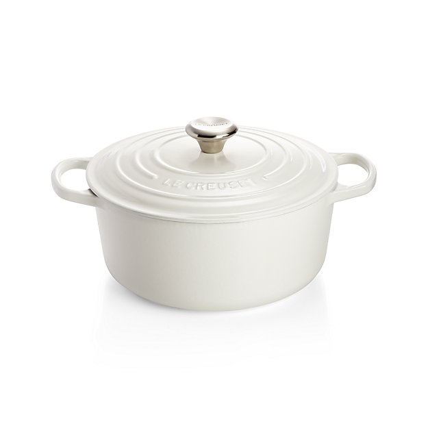 le creuset signature 5 5 qt round white dutch oven with lid in enamel cookware reviews. Black Bedroom Furniture Sets. Home Design Ideas