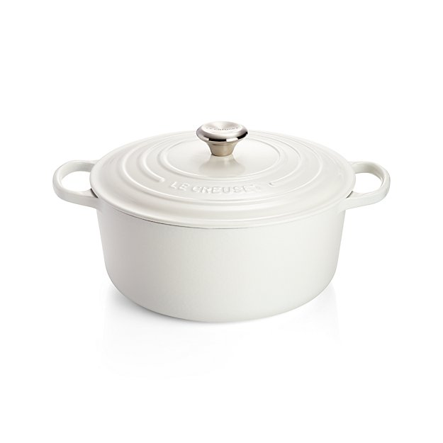 le creuset signature round white dutch oven with lid crate and barrel. Black Bedroom Furniture Sets. Home Design Ideas