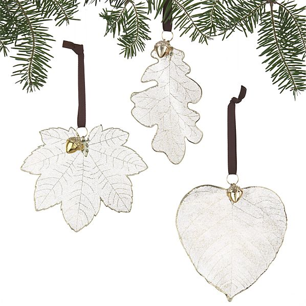 Set of 3 Leaf with Acorn Ornaments