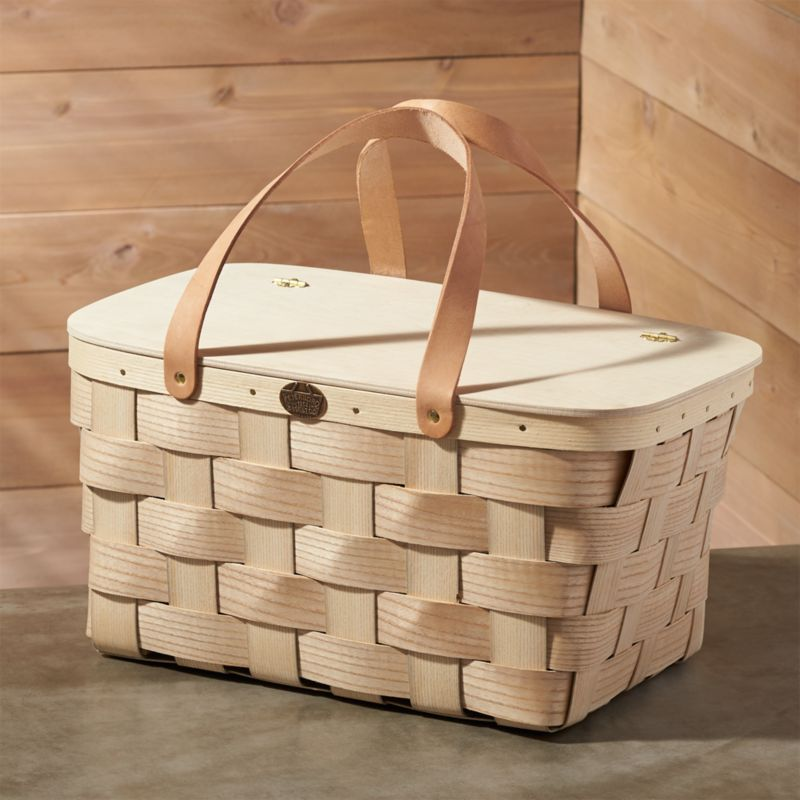 Leather Handled Picnic Basket Reviews Crate And Barrel