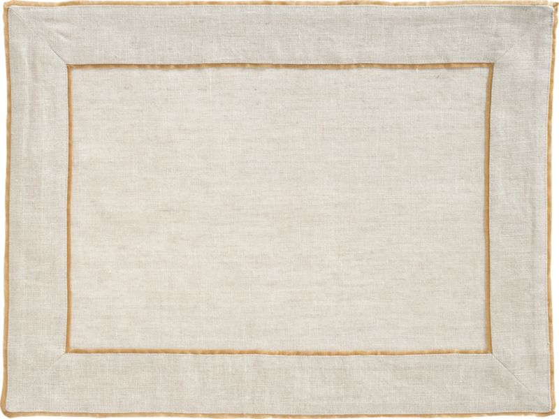 Gold silk flange trim frames 100% natural linen in simple elegance. Refined neutrals set a sophisticated table for casual or formal dining.<br /><br /><NEWTAG/><ul><li>100% linen</li><li>100% silk trim</li><li>Machine wash; dry flat, warm iron as needed</li></ul>