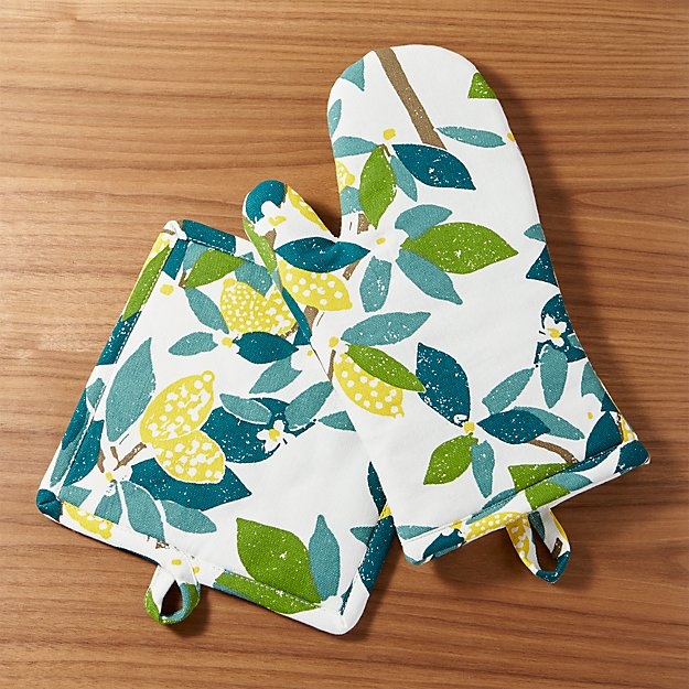 Lemon Tree Oven Mitt and Pot Holder