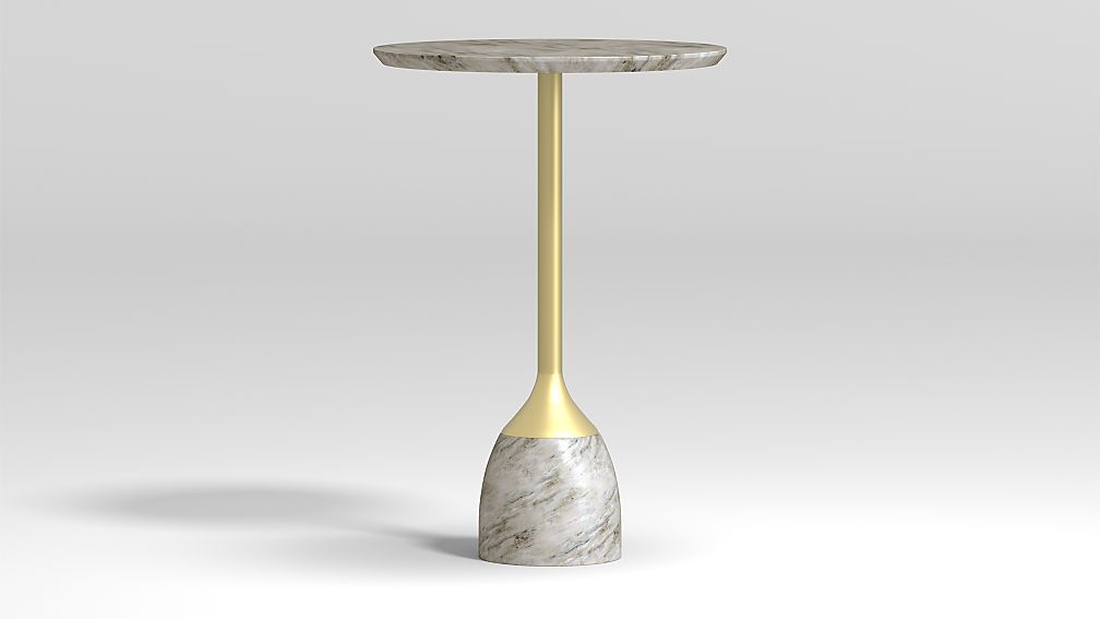 Leni Grey Marble Drink Table - Image 1 of 5
