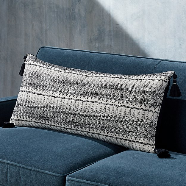 Leon Tassel Lumbar Pillow with Feather-Down Insert - Image 1 of 7