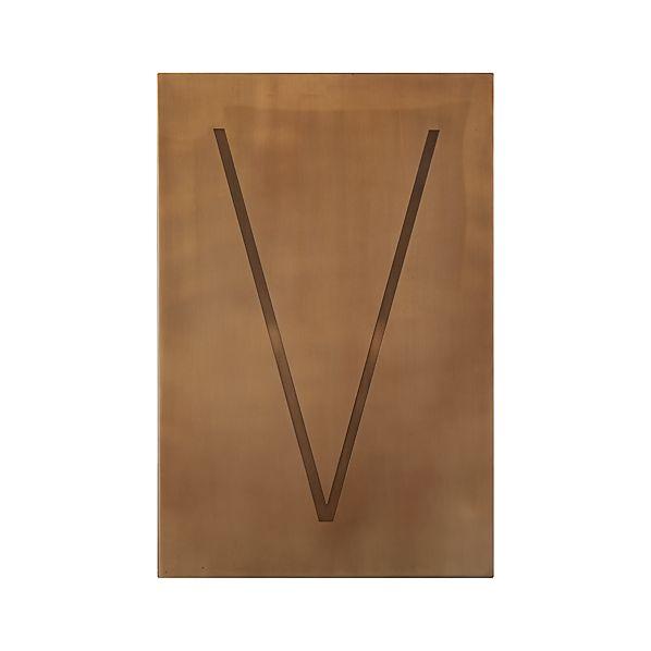 Brass Letter V Wall Art