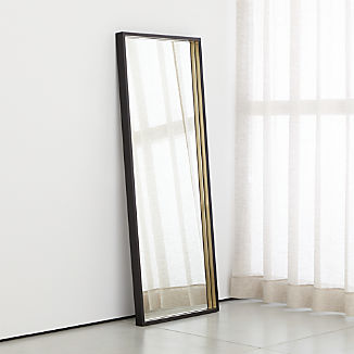 Liam Black Frame Floor Mirror with Brass Inlay