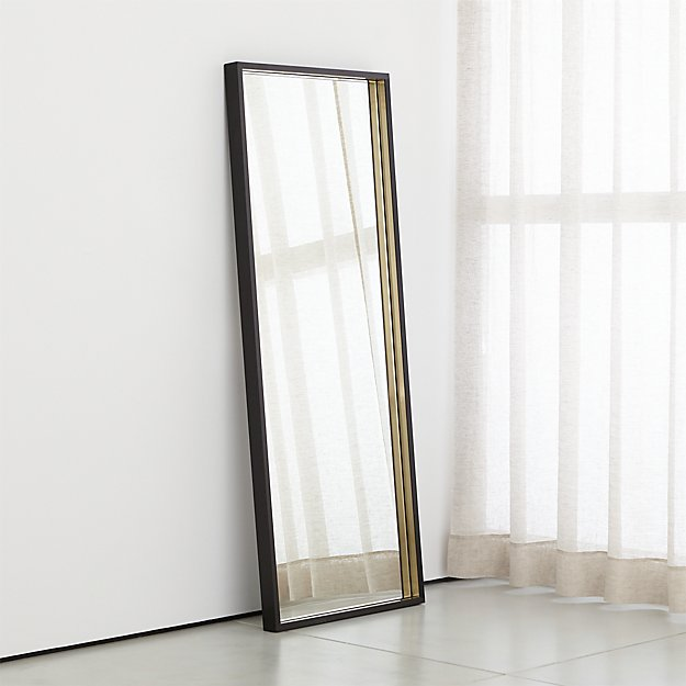 Liam Black Frame Floor Mirror with Brass Inlay - Image 1 of 6