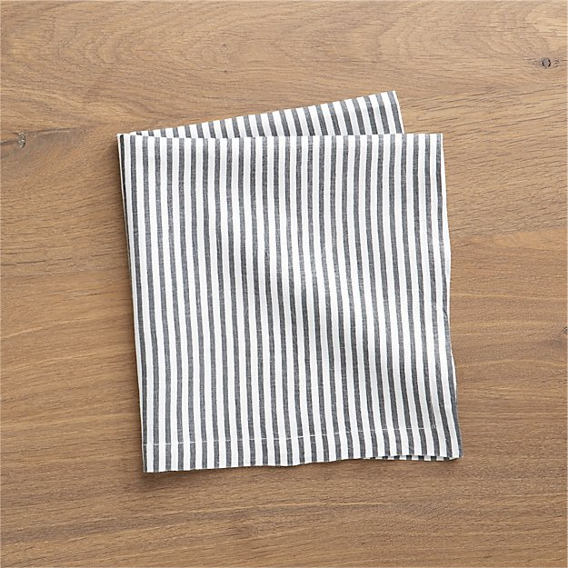 Liam Grey Striped Linen Cloth Dinner Napkin - Image 1 of 6
