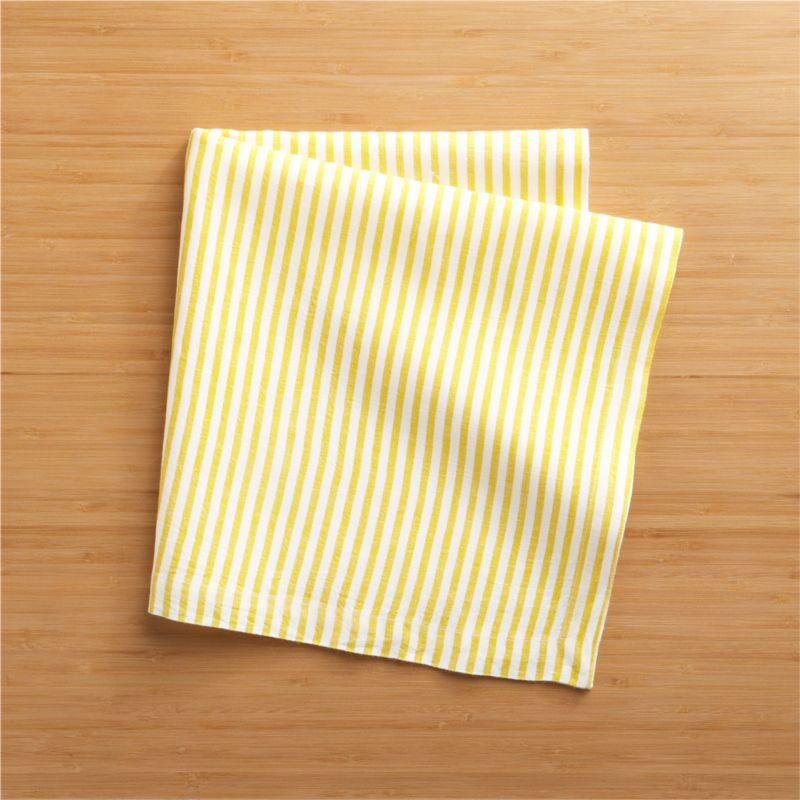 Hand-printed organic stripes line white linen napkin in soft yellow.<br /><br /><NEWTAG/><ul><li>Handcrafted</li><li>100% linen</li><li>Machine wash, tumble dry; warm iron as needed</li><li>Oversized to allow for shrinkage</li><li>Made in India</li></ul>