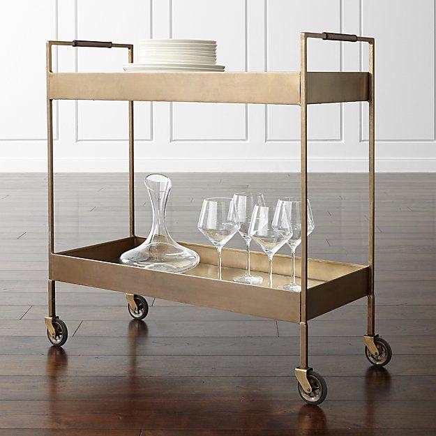 Libations Antique Brass Bar Cart - Image 1 of 12