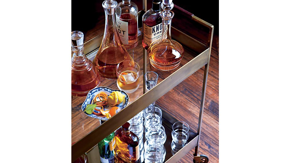 Libations Antique Brass Bar Cart