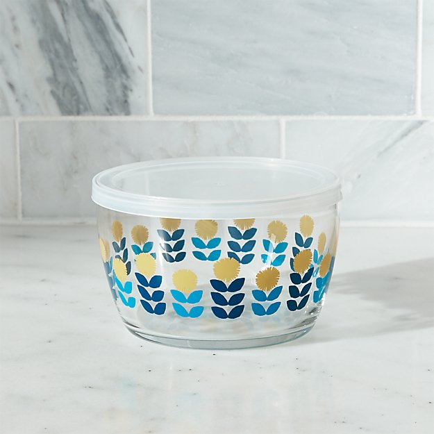 Lidded Bowl with Blue Flowers