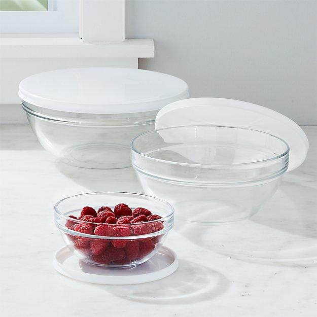 Lidded Glass Bowls, Set of 3