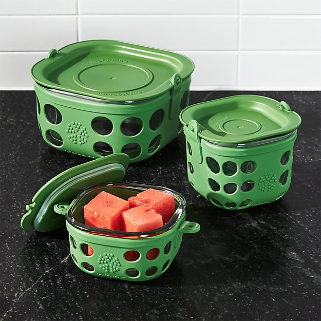 Lifefactory Grass Green Storage Containers Set of Three