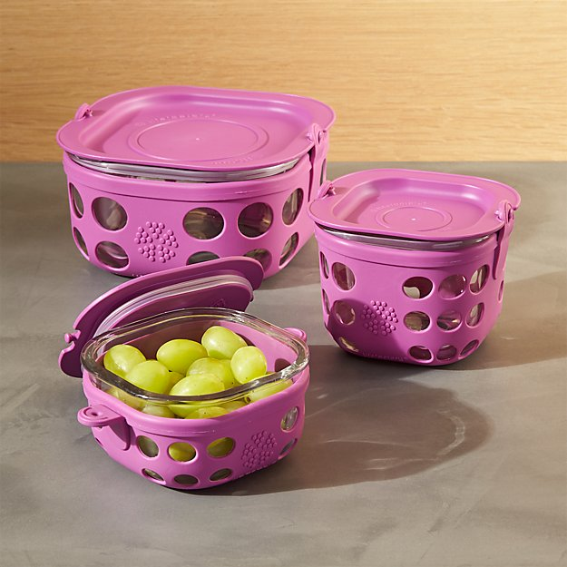 Lifefactory Huckleberry Purple Storage Containers Set of Three