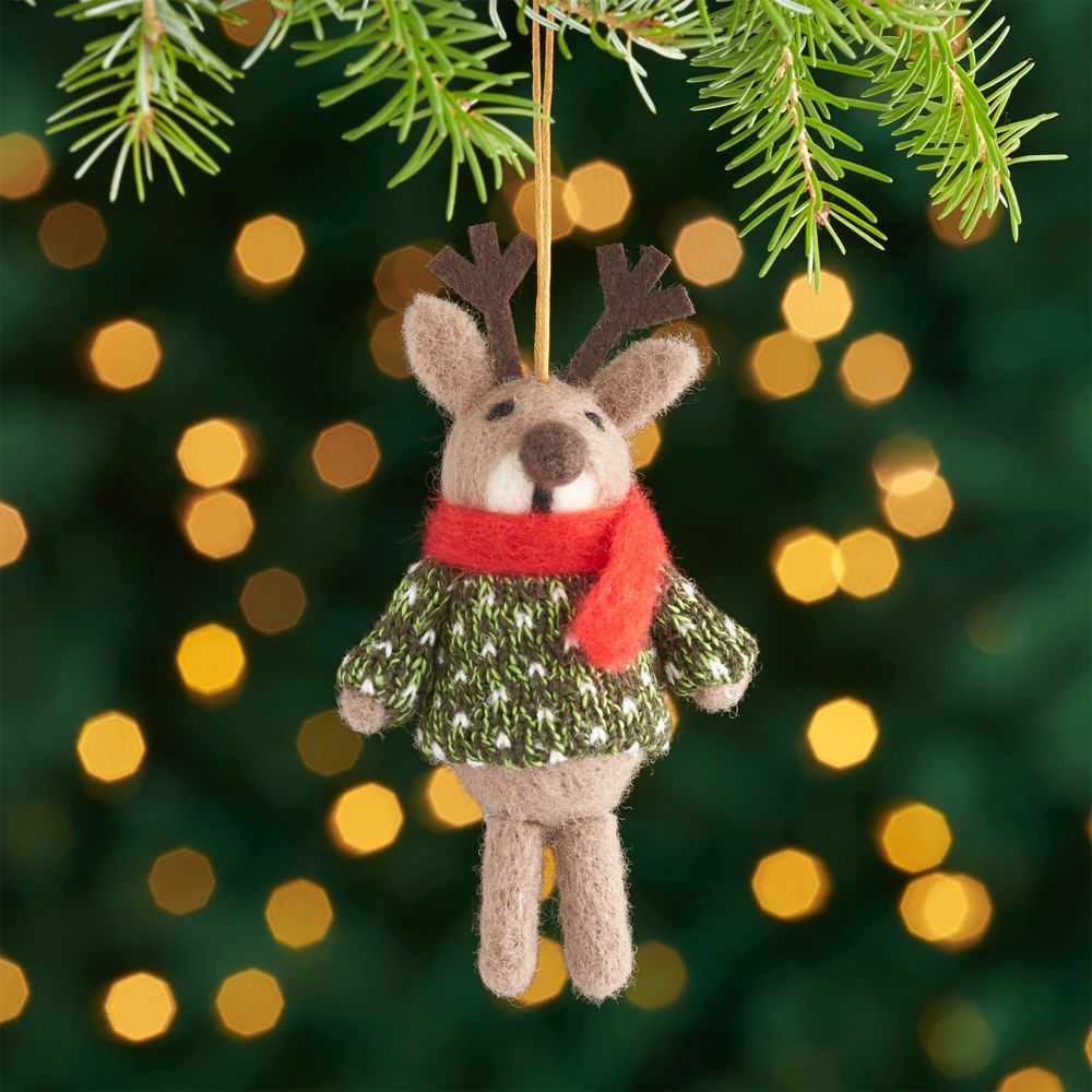 Light Brown Felt Reindeer with Sweater Ornament