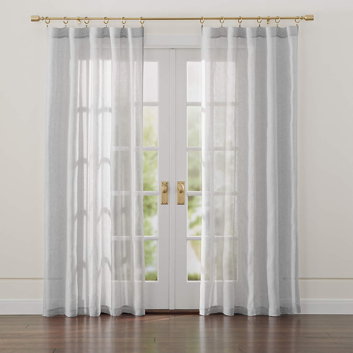 Linen Sheer 52x84 Light Grey Curtain Panel Reviews Crate And Barrel