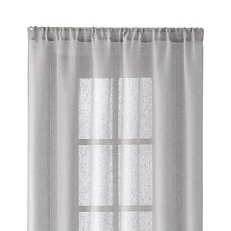 "Light Grey Linen Sheer 52""x96"" Curtain Panel"