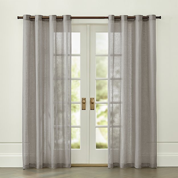 Light Grey Linen Sheer with Grommets - Image 1 of 4