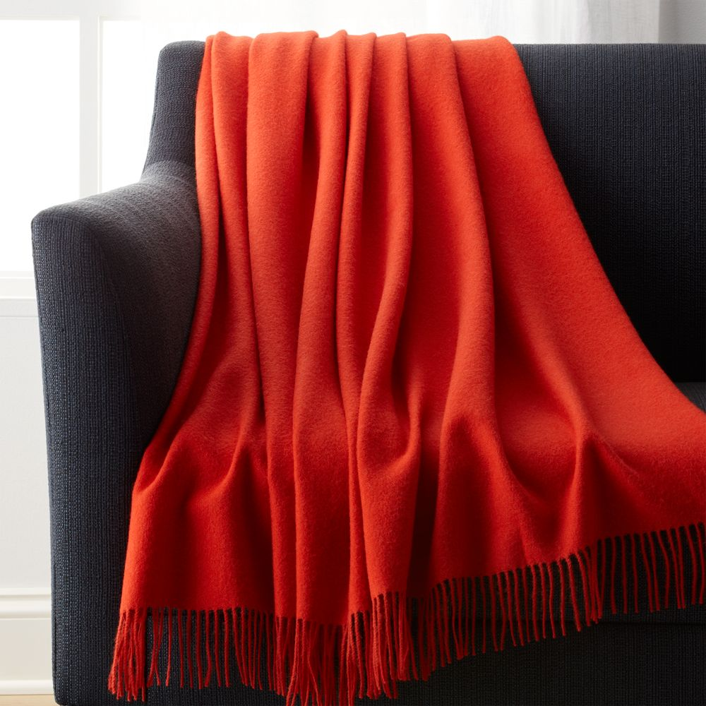 Lima Alpaca Mandarin Orange Throw - Crate and Barrel