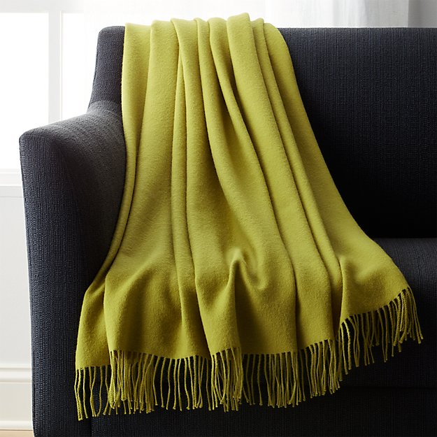Lima Alpaca Olive Green Throw Blanket