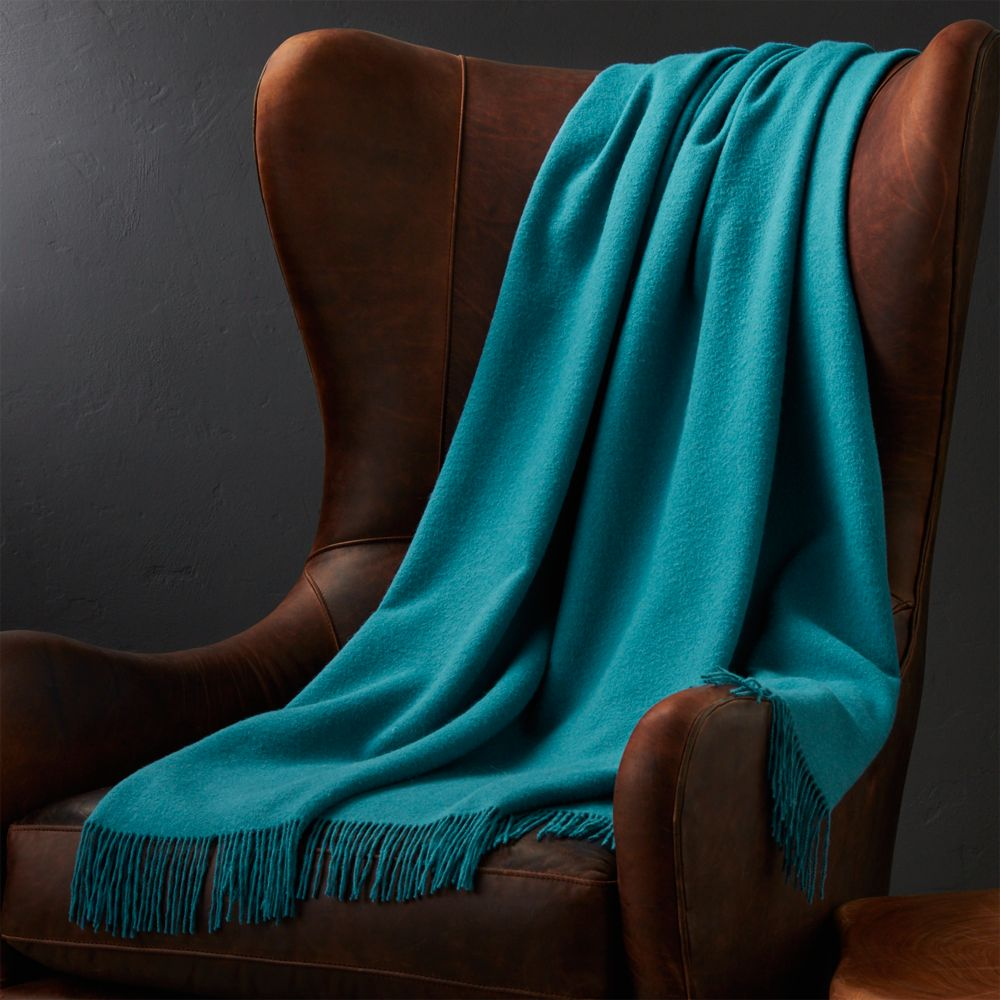 Lima Alpaca Peacock Blue Throw - Crate and Barrel