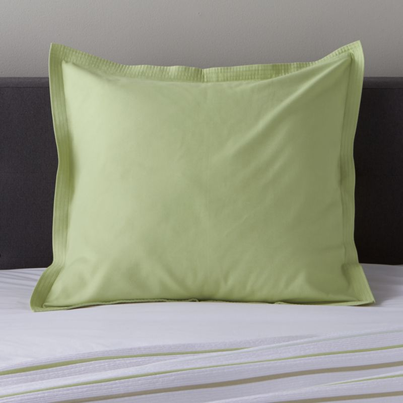 Lima Solid Euro Pillow Sham<br />Jacquard dobby weave lends seersucker freshness to solid lime sham. Patterned Lima pillow shams coordinate. Bed pillows also available.<br /><br /><NEWTAG/><ul><li>100% cotton</li><li>Dobby jacquard weave</li><li>Overlapping back closure</li><li>Machine wash cold, tumble dry low; warm iron as needed</li><li>Made in Portugal</li></ul>
