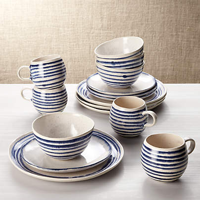 View testLina Blue Stripe 16-Piece Place Setting