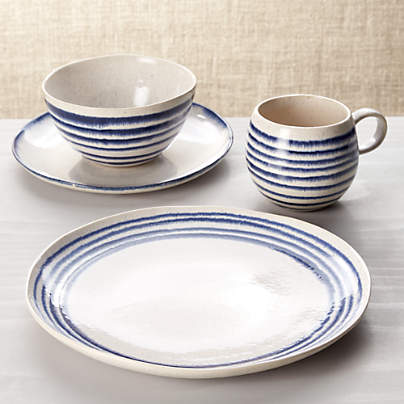View testLina Blue Stripe 4-Piece Place Setting