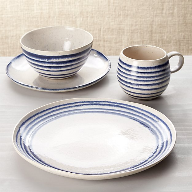 Lina Blue Stripe 4-Piece Place Setting