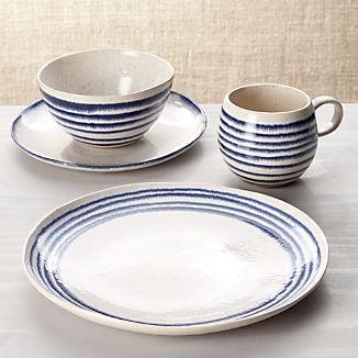 Lina Blue Stripe 4-Piece Place Setting