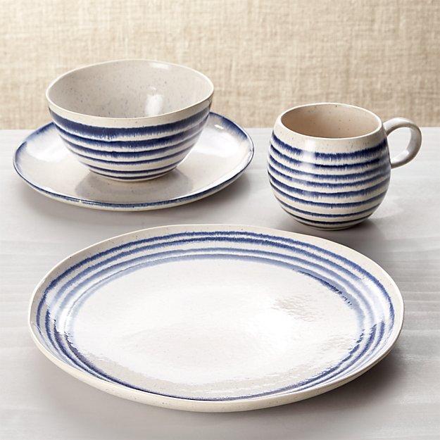 Lina Blue Stripe 4-Piece Place Setting - Image 1 of 4