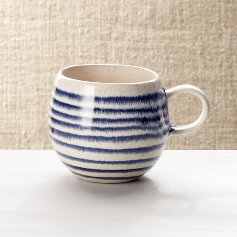 Lina Blue Stripe Coffee Mug Reviews Crate And Barrel