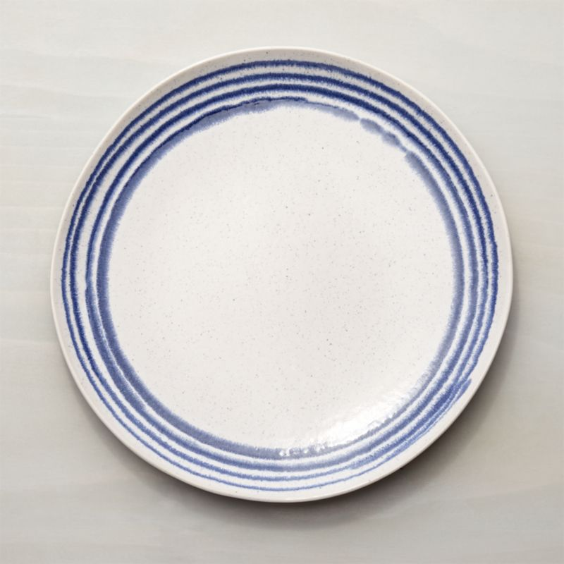 & Lina Blue Stripe Dinner Plate + Reviews | Crate and Barrel
