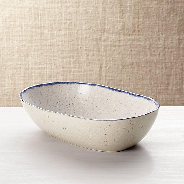 Lina Blue Stripe Oval Serving Bowl - Image 1 of 5