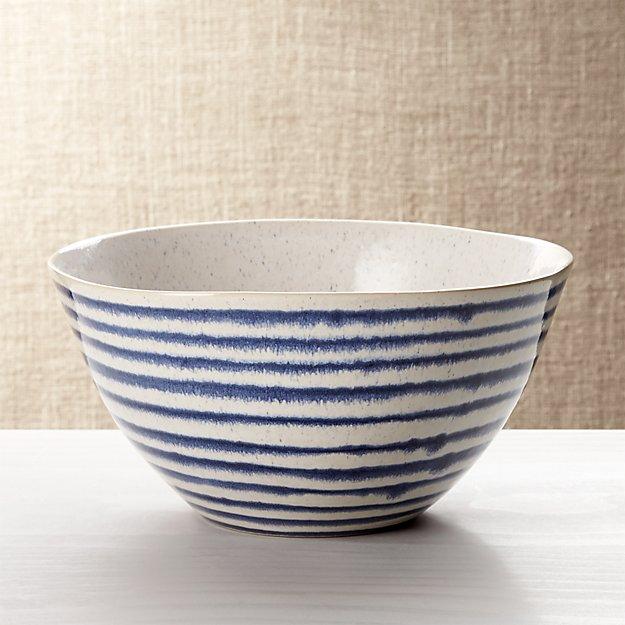 Lina Blue Stripe Serve Bowl - Image 1 of 7