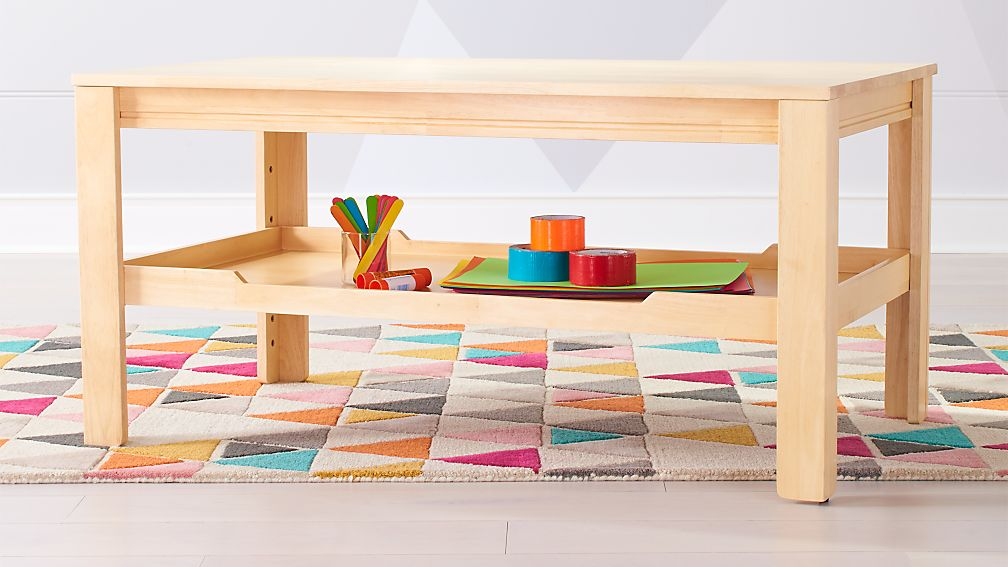 Large Natural Adjustable Kids Table Storage Tray Reviews Crate